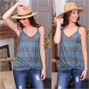 Teal and Gray striped knot front tank